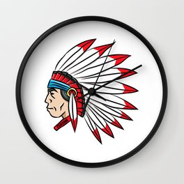 Indian chief feather headdress comic gift Wall Clock