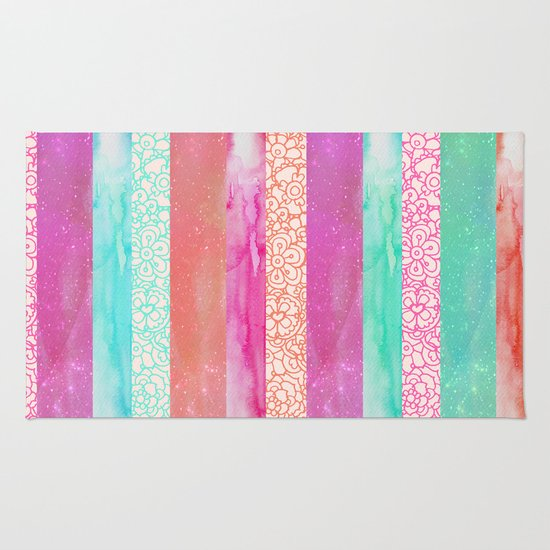 Pink, Aqua And Peach Colorway Rug By