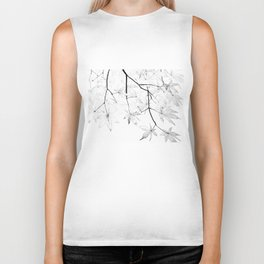 black and white maple leaves Biker Tank