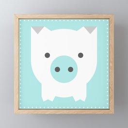 Little Pig, Animal Squares Series in Aqua Framed Mini Art Print