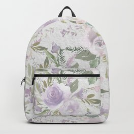 Lavender pastel green white watercolor floral pattern Backpack