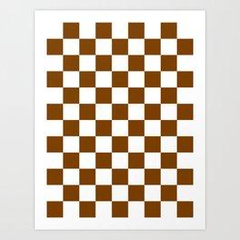 Checkered - White and Chocolate Brown Art Print