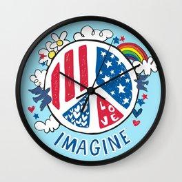 Imagine Love Imagine Peace Wall Clock