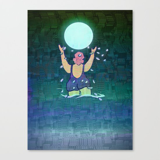 Bathing somewhere under the Moon Canvas Print