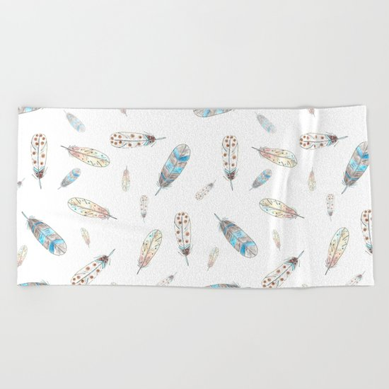 Watercolor feathers print Beach Towel