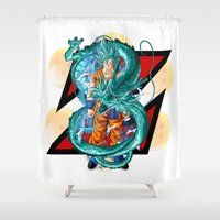 dbz Shower Curtains featuring DBZ - A Hero by Mr. Stonebanks