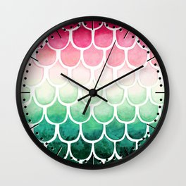 Retro Melon Mermaid Scales Wall Clock