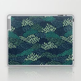 Dashes and dots in blue-green // abstract pattern Laptop & iPad Skin