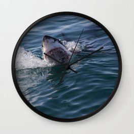 Great White Shark smiles Wall Clock