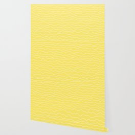 Yellow with White Squiggly Lines Wallpaper