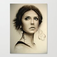 the vampire diaries Canvas Prints featuring Nina Dobrev The Vampire Diaries  by Yuliya  Talanova