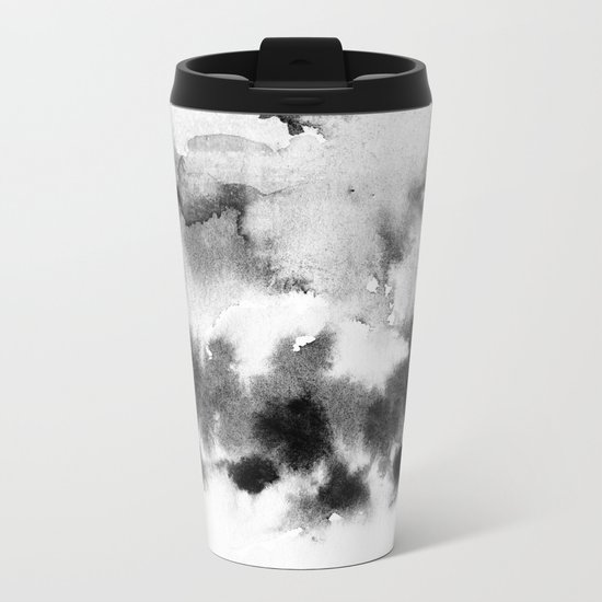 MINIMAL BLACK AND WHITE SPLATTER PATTERN Metal Travel Mug
