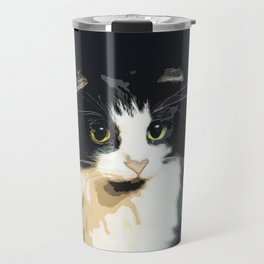 Cute Black and White Tuxedo Cat Travel Mug