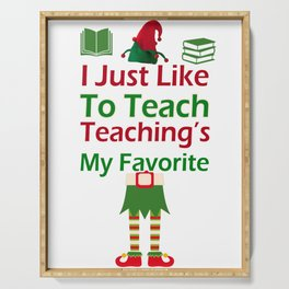 Funny Christmas Elf graphic for Teachers Teaching print Serving Tray