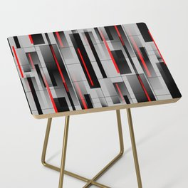 Off the Grid - Abstract - Gray, Black, Red Side Table