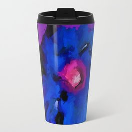 Cobalt Blue Flower dissolves into a Purple Floor Travel Mug