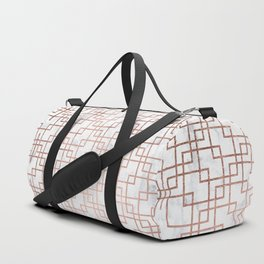 Modern rose gold geometric abstract square pattern on white marble Duffle Bag