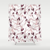 naked Shower Curtains featuring Naked Ladies Pattern by Esthera Preda