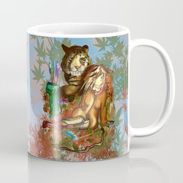 Female wood elf druid with a tiger for dnd fans Coffee Mug