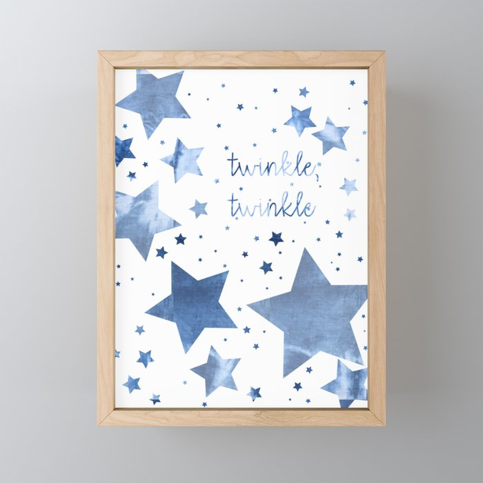 Blue Twinkle Stars Framed Mini Art Print