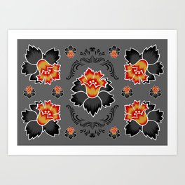 Abstract floral ornament Art Print