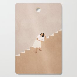 Girl Thinking on a Stairway Cutting Board