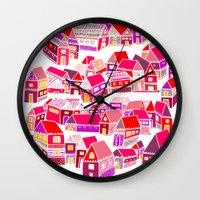 home sweet home Wall Clocks featuring Home Sweet Home by Shakkedbaram