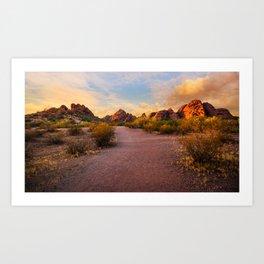 Sunset at Papago Park in Phoenix Arizona Art Print