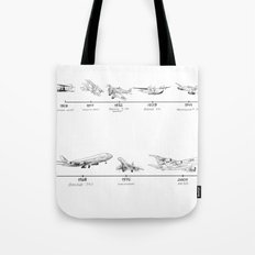 Evolution of Airplanes Tote Bag