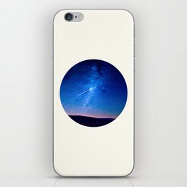 Mid Century Modern Round Circle Photo Graphic Design Shooting Star Blue Nebula Galaxy In The Sky iPhone Skin
