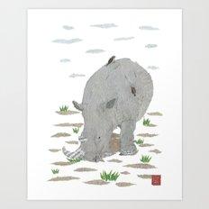 Rhino, Rhinoceros, African Animal, Savanna, Safari, Wildlife Art Print