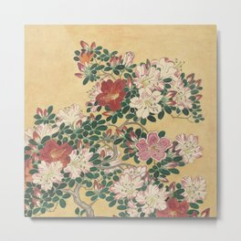 Vintage Flowers Azalea Japanese Painting Metal Print