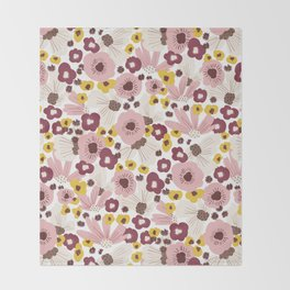 Boho Floral Vibes Throw Blanket