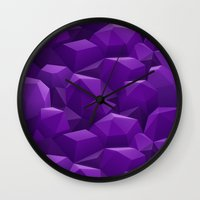geode Wall Clocks featuring Geode by Screen Candy