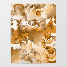 Watercolor Autumn Leaves 2 Poster