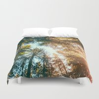sun Duvet Covers featuring California Redwoods Sun-rays and Sky by Elena Kulikova