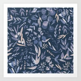 Eucalyptus Pattern - Blue inverted Art Print
