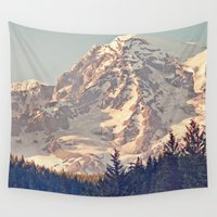 dave grohl Wall Tapestries featuring Mount Rainier Retro by Kurt Rahn
