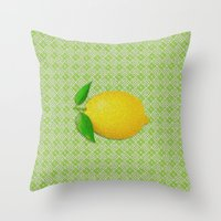 lemon Throw Pillows featuring Lemon by Mr and Mrs Quirynen