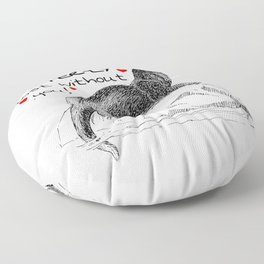 I'd Be Otter ly Lost Without You Cute Otter Pun Floor Pillow