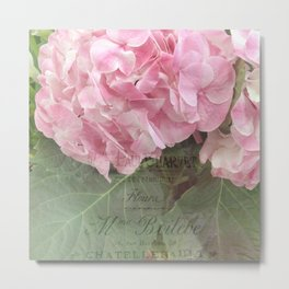 Pink Hydrangea Flower Prints Home Decor Metal Print