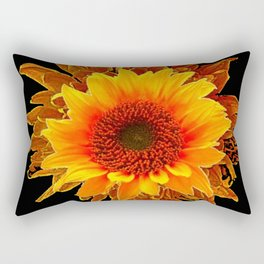 Decor Black & Brown Golden Sunflower Art Rectangular Pillow