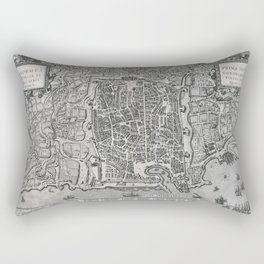 Vintage Map of Palermo Italy (1581) Rectangular Pillow