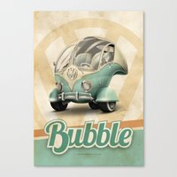 "volkswagen Canvas Prints featuring Volkswagen ""Bubble"" by Marcelo Schultz"