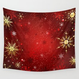 Red Background with Gold Snowflakes Wall Tapestry