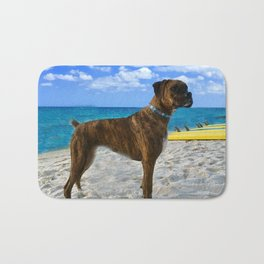 BOXER DOG SURFER BEACH BUM AND FRIEND Bath Mat