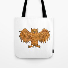 Angry Owl Wings Spread Drawing Tote Bag