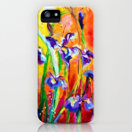 Alpha and Omega Impressionist Blue Irises iPhone Case