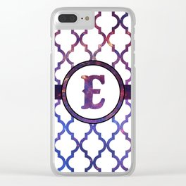 Galaxy Monogram: Letter E Clear iPhone Case