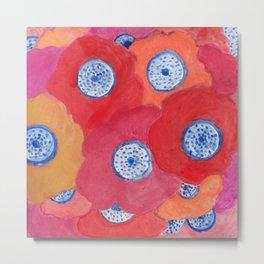 Hippy flowers watercolor Metal Print